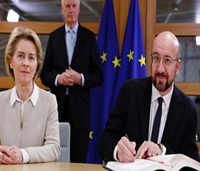 You are currently viewing The Britain/EU Withdrawal Agreement Document signed across the channel. By Godson Azu