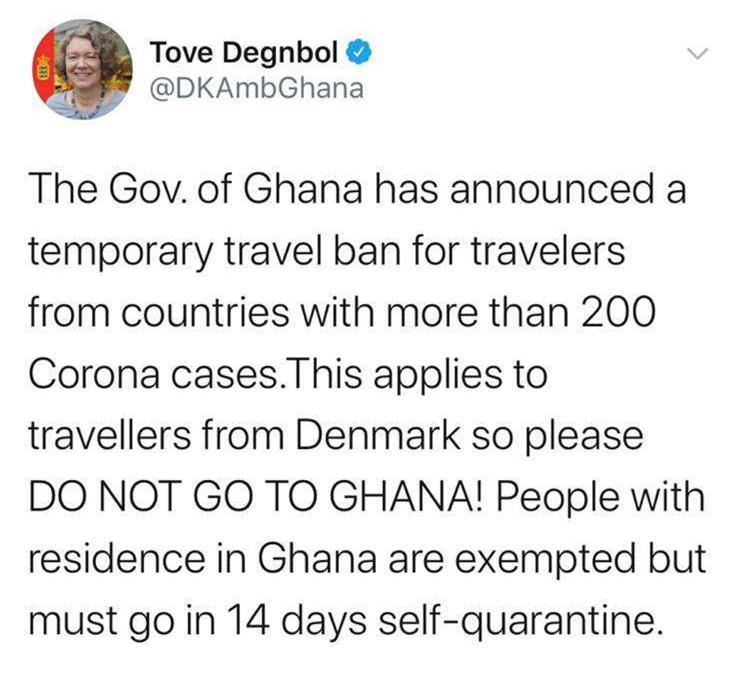 You are currently viewing The Government of Ghana has announced a temporary travel ban for travelers from countries with more than 200 Corona Cases